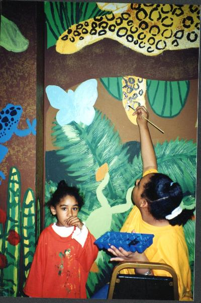 CMH Exploration Rm mural, kids painting 6