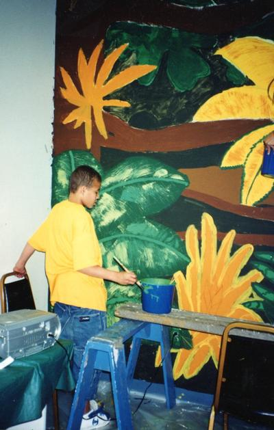 CMH Exploration Rm mural, kids painting 7
